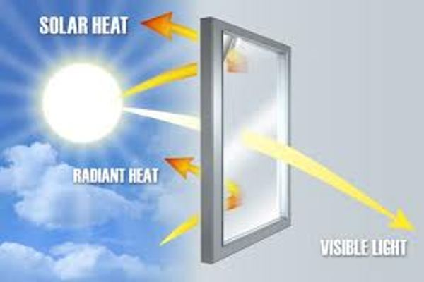 An example of reflective heat windows