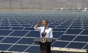 President Obama gives a speech in front of a Solar Energy Farm, his administration recently put forth legislation to greatly expand solar energy in America.